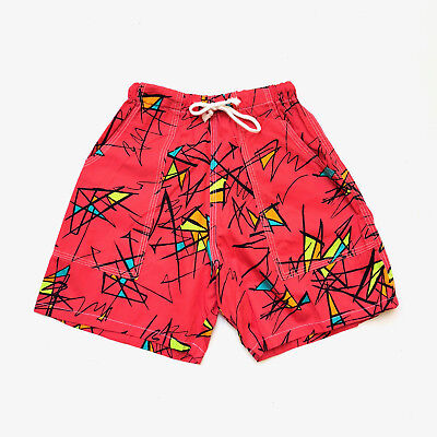 Vintage 1980s 'Saltwater' colourful cotton shorts with allover new wave print