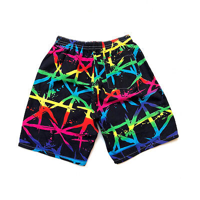Vintage 1980s unisex beach shorts with graphic, new wave splatter print