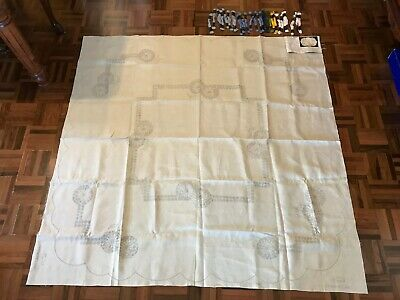 Vintage MyArt shasta daisies floral large tablecloth embroidery kit pure linen