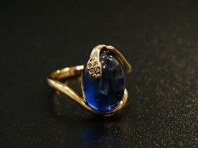 Art deco Vintage Jewelry Gold oval Royal blue stone cocktail Antique size 7 ring