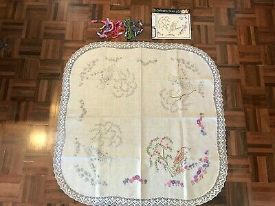 Started Semco linen embroidery tablecloth kit Australian bush homestead floral