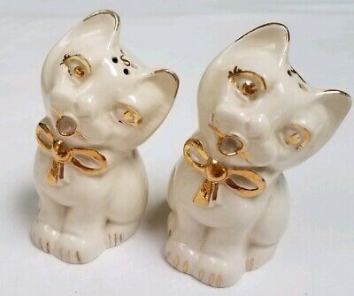 "Antique Cat Salt & Pepper Shakers White/Gold Hand Painted signed ""Matthews"""
