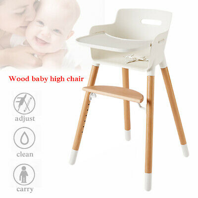 High Chair Baby Wooden Convertible Table Seat Booster Toddler Feeding Highchair