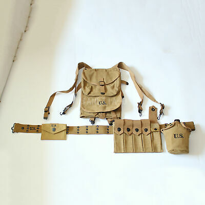 Reproduction Full Set WW2 WWII US Thompson Bag Belt 1928 Haversack Canteen