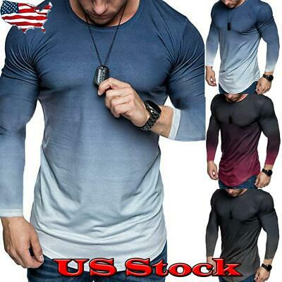 Men Long Sleeve Slim Fit O-Neck Muscle Tee T-shirt Casual Gradient Tops Blouse