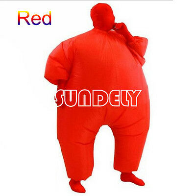 Inflatable Fat Chub Suit Fancy Dress Party Adult Costume Cosplay Jumpsuit RED
