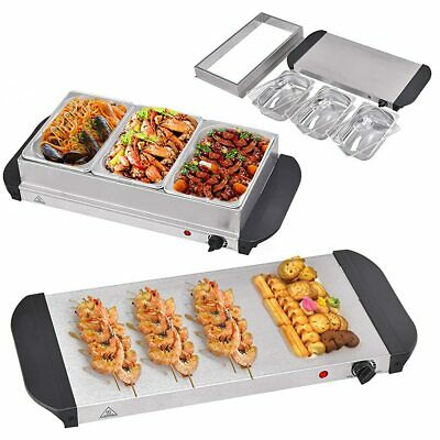 Food Warmer Buffet Electric Server 3 Tray Large Bain Marie Stainless Steel New
