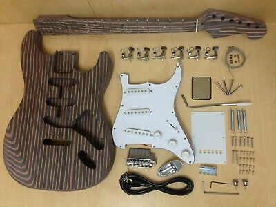 All Technical ZebraWood ST Style Electric Guitar DIY Kit, No-Soldering |E500 ST|