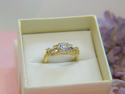 Art Deco Vintage Antique style Gold Ring size 7 White Sapphires Jewellery