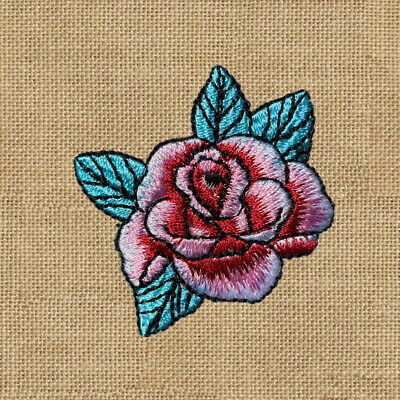 1pc Rose Red Pink Flower Embroidered Patch Cloth Iron On Applique sewing #1574