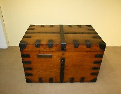 Stunning Victorian Metal Bound Oak & Iron Silver Chest / Trunk