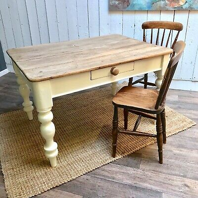 Antique Pine Table, Victorian Country Cottage Table, Antique Kitchen table