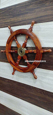 "Vintage Style 24"" Wood Ship Wheel Maritime Nautical Wall Decorative."