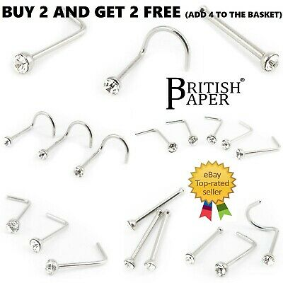 Silver Nose Studs Straight I L Screw Shape Pins Ball End Thin Bar Steel Piercing
