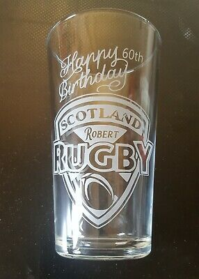 4Scottish Rugby Birthday Giftware Glass Etching Stencil Personalised Age & Name