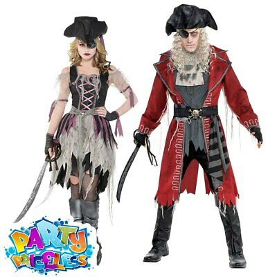 Adult Mens Ladies Zombie Pirate Captain Costume Halloween Fancy Dress Outfit