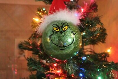 Grinch inspired Christmas Ornament, Tree Decoration, Grinch Decoration, glitter