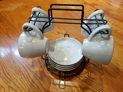 Modern Porcelain Tea Set - 4 Cup and 4 Plate - White with Decorative Metal Rack