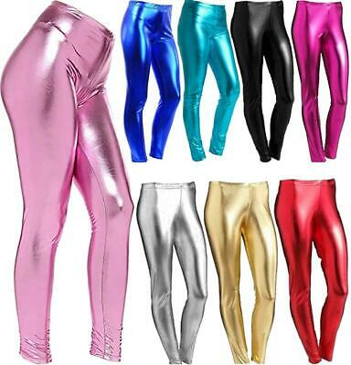 Girl Wet Look Foil Metallic Leggings Kids Disco Party Fancy Dress Shiny Leggings