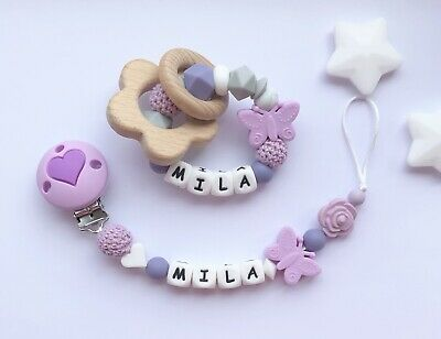 Personalised Dummy Clip And Teether Set -Pacifier Clip - Soother Clip - Purple