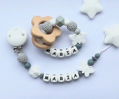 Personalised Dummy Clip And Teether Set -Pacifier Clip - Soother Clip - White