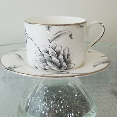 Marchesa Lenox Fine Bone China Tea Cup Saucer Floral Illustrations Platinum Band