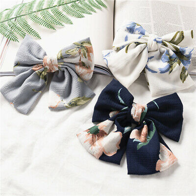 Fashion Solid Color Satin Chiffon Big Double-layer Bow Hair Clip Large Barrettes