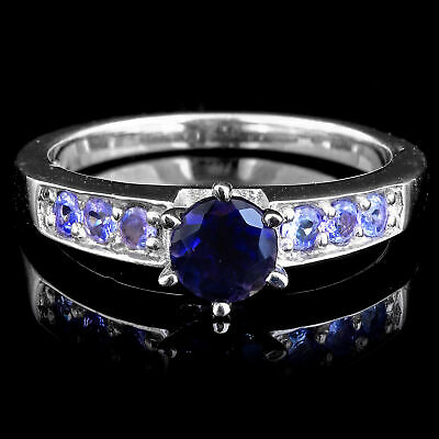 100% Natural 6Mm Iolite & Violet Tazanite Solid Sterling Silver 925 Ring Size 9