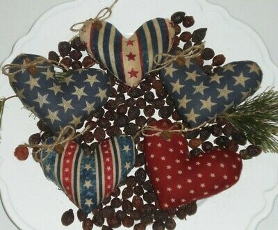 5 Primitive Americana USA July 4 Hearts Bowl Fillers Ornies Ornaments Pillows