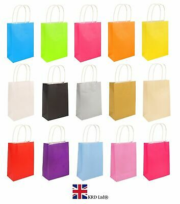 12 x Bright PAPER PARTY BAGS WITH HANDLES Gift Bag Birthday Wedding Loot NEW UK