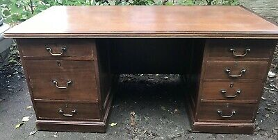 Large Antique Double Pedestal Desk With/ Without Green Captains Chair.