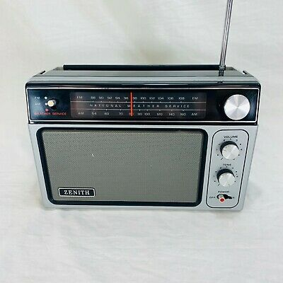 Vintage Zenith R80 AM FM Weather Service Portable Radio With Cord - See Video!