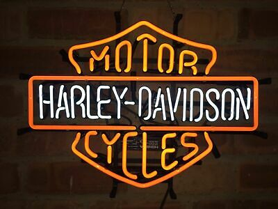 New Vintage HD Mtcycle Real Glass Neon Light Sign Beer Bar Garage 19x15 inches