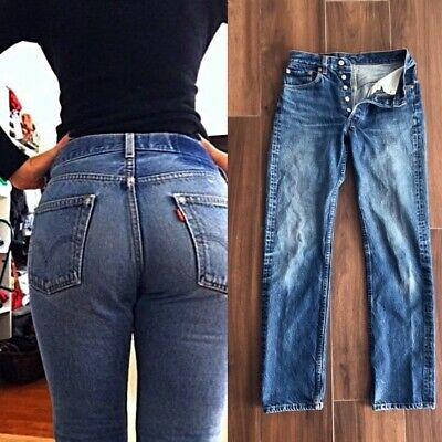 Vintage HIGH WAISTED LEVIS 501 Straight Leg Faded Blue Denim MoM JEANS 26""