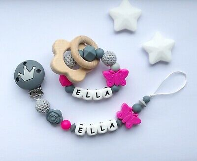 Personalised Dummy Clip And Teether Set -Pacifier Clip - Soother Clip - Grey