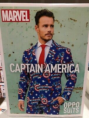 Mens OPPOSUITS CAPTAIN AMERICA  Suit Set Jacket Pants Tie Sz 40 NEW