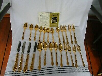 International Silver 1847 Rogers Bros 23K Gold CROWN Tableware ~[ 25 pcs ]~NICE!