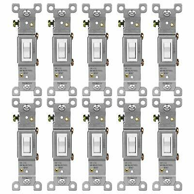 Toggle Light Switch Single Pole 15A 120-277V Residential Grade 10 Pack