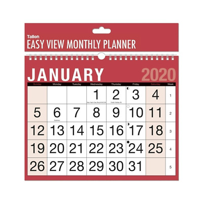 one Month To View Red /& Black Planner Wall 2020 Calendar easy