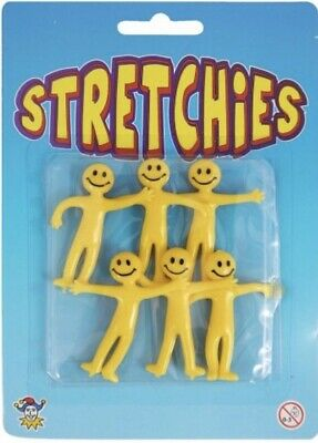 6 x SMILE STRETCHY MEN TOYS LOOT BAGS FUN BIRTHDAY PARTY BAG FILLERS