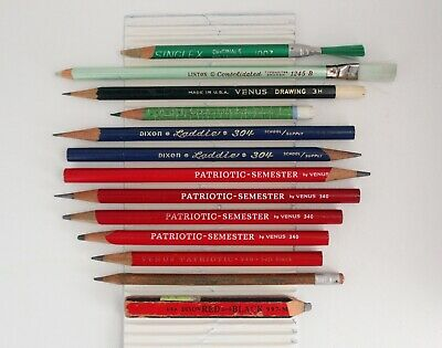 "13 VINTAGE PENCILS Drafting Drawing ""MADE IN USA"" Dixon, Venus, Faber, General A"