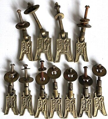 "Solid Brass Asian Style Drawer Pulls 3"" Set of 11 Vtg Lot Cabinet Cupboard"