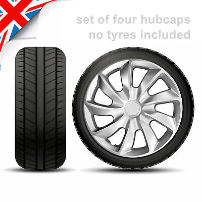 "14 Inch WHEEL TRIMS (4 x 14"") HUB CAPS HQ ABS Plastic Universal Push-In /.8835/"