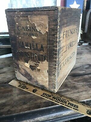 Antique Vanilla Substitute Wood Crate Box French's Fine Extract Lid