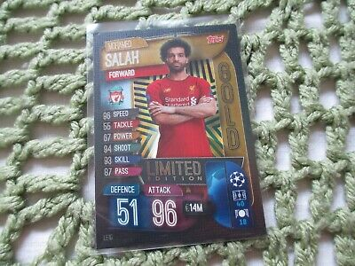 Match Attax Attack 2019/20 2019/2020 LE1G Mohamed Mo Salah Gold Limited Edition