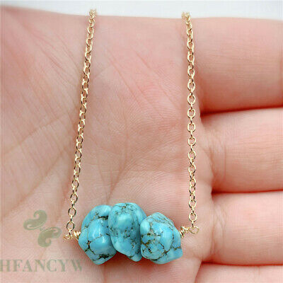 12-20mm Natural Turquoise Stone Pendant Necklace 18 inch Classic Women Party