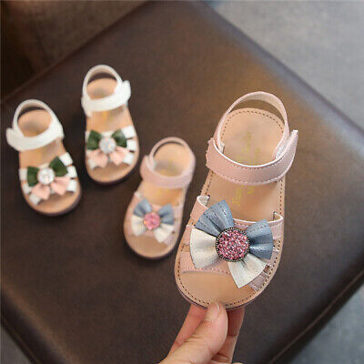 Fashion Toddler Girls Diamante Bow-Knot Sandals Kids Baby Holiday Beach Shoes