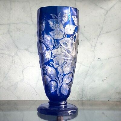 Large Bohemian blue overlay glass vase, superbly cut with flowers, c. 1880