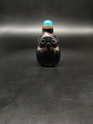 CH0910 Chinese black Glass Nesting Hand carved Owl transparent Snuff bottle