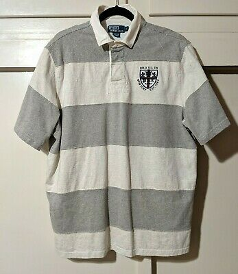 VTG Ralph Lauren Polo Vented Striped Rugby Shirt PRL 1967 Crest 90s Boxy Large L